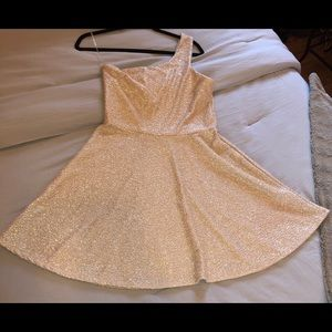 One shoulder dress - baby pink